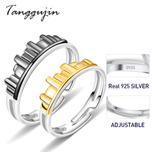 Tanggujin Couple Rings 925 Sterling Silver Adjustable Simple Ring For Women Men Lovers Jewelry Gift Wedding Band Party