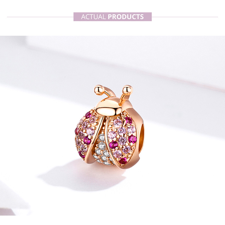 HTB1edQla.Y1gK0jSZFMq6yWcVXap BAMOER New Arrival 925 Sterling Silver Ladybug Pink Cubic Zircon Insect Charms Beads fit for Bracelets DIY Jewelry SCC1120