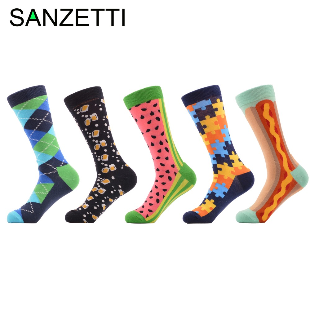 SANZETTI 5 pairs/lot Men's Novelty Funny Socks Combed Cotton Crew Socks