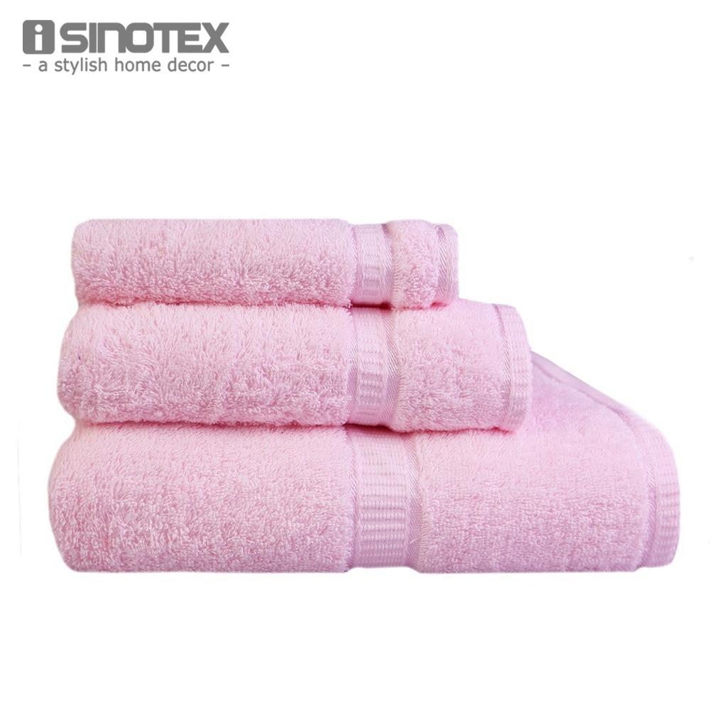 Bath Towels Lots: 3 PCS/Lot Towel Sets 100% Cotton Face Bath Bathroom Satin