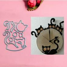 Kat klok Metalen Cut Sterft Kerst Stencils Voor DIY Plakboek Card Decoratieve Craft Embossing Die Cuts(China)