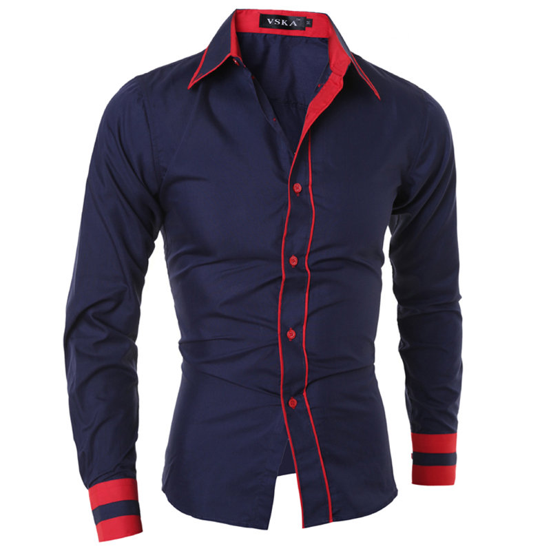 Men Shirt 2016 Fashion Brand Men'S Cuff Striped Long-Sleeved Shirt Male Camisa Masculina Casual Slim Chemise Homme XXL SJQWB