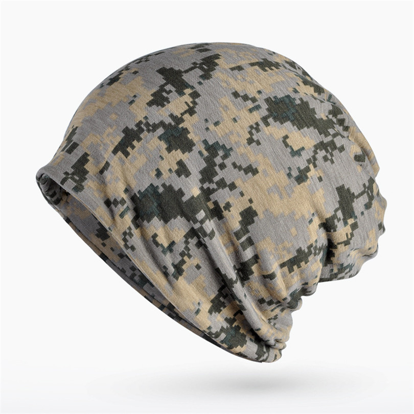Haimeikang Autumn Winter Hat Men Women Tactical Military Army Camouflage Beanie Knitted Cotton Skullie Hat Scarf Horsetail Cap