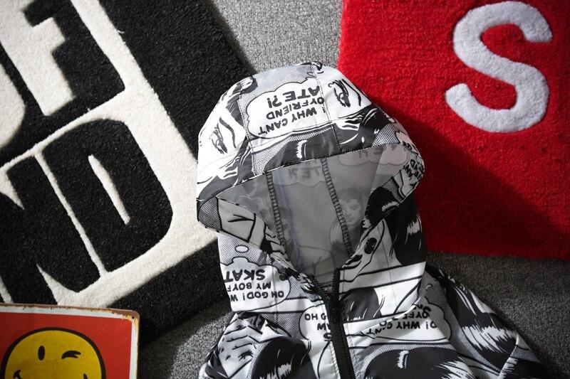 2018 Skateboards Cartoon Jacken Männer Comics Tasche Dünne Mit Kapuze Windjacke Trainer Sonnencreme Regenmantel Männer Kleidung Armee Drop