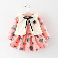 2017 herbst Cute Baby Kleid Mode Kinder Kleider für Mädchen Druck Prinzessin 1 Jahr Brithday Party Kleider Weihnachten Kostüm