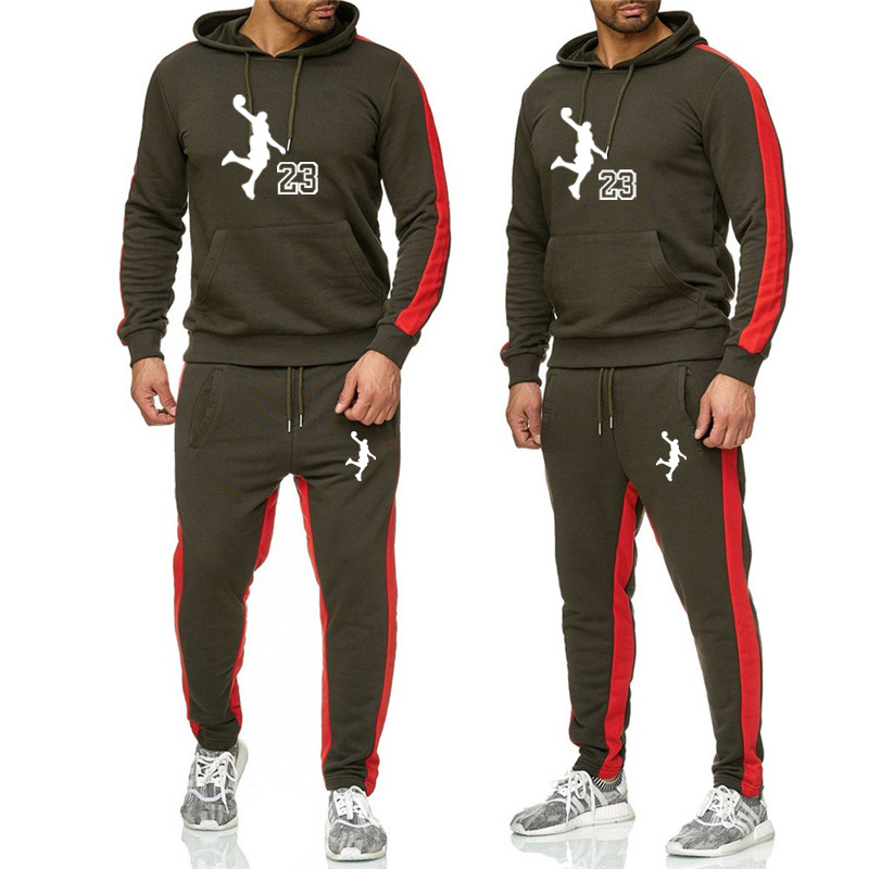 2019 New  Brand Tracksuit Fashion Jordan Men Sportswear Two Piece Sets Cotton Fleece Thick Hoodie Pants Sporting Suit Male