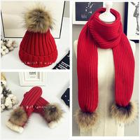 2018 New Winter Knitted Hats And Scarf Women Knitted Wool Pom Pom Scarf Hat Gloves Three-piece Set Mens Fur Scarves Cap AHT124