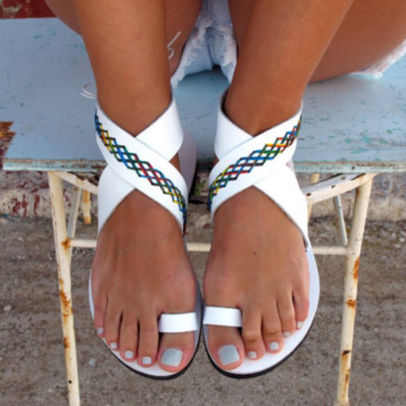 Hot Sale Women Summer Sandals With Stitched Candy Color Lines ,Hawaii Ring Toe Sandals For Lady, Popular Flat Beach Shoes Trendy trendy flat collar sleeveless pocket design buttoned dress for women