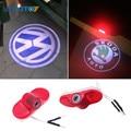 2X Car LED Door Laser Logo Projector Ghost Shadow Lights For Volkswagen VW Caddy Touran Golf 4 MK4 Beetle Bora Skoda Octavia