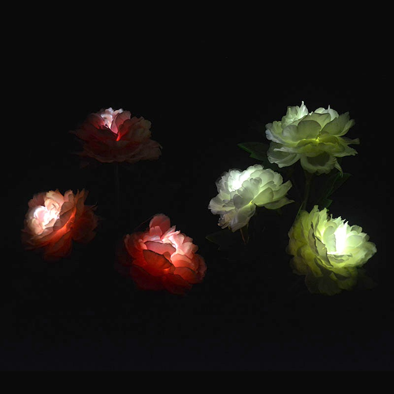 Promo Chance of  Artificial Peony Flower Light 3 LED Solar Powered Light Landscape Pathway Lamp For Outdoor Party De