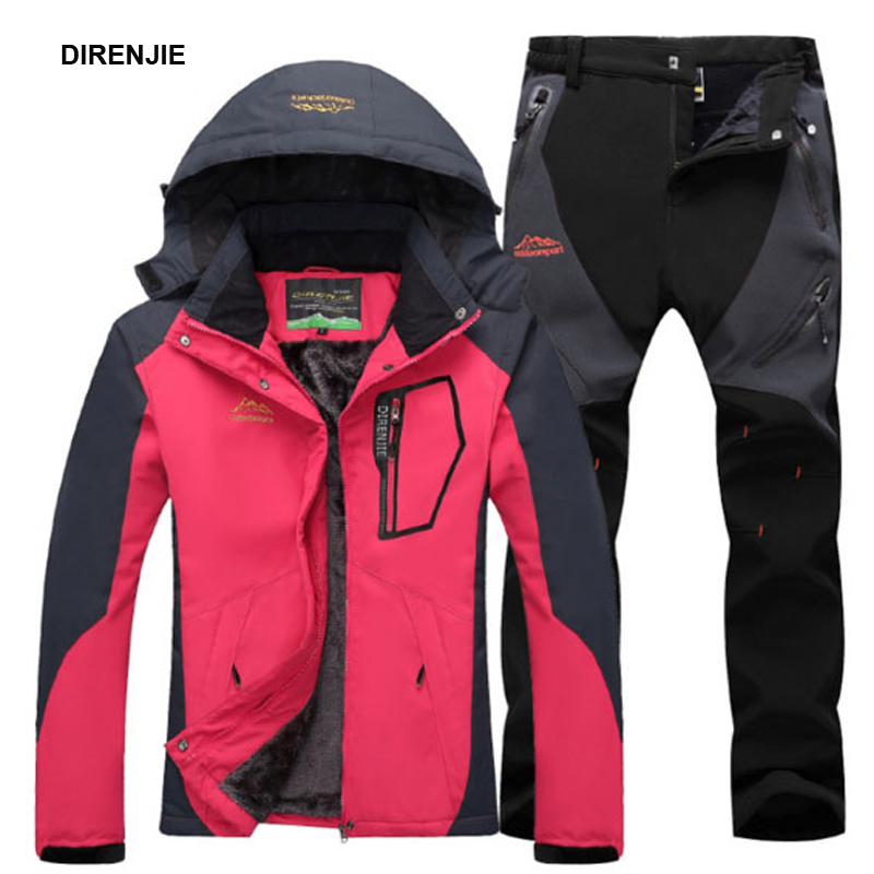 DIRENJIE Woman Winter Fur Camping Hiking Trekking Skiing Climbing Waterproof Outdoor Jackets Soft Shell Pants Sports Trousers