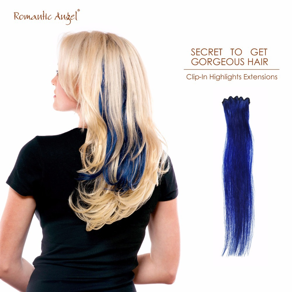 12 inches 30cm 3.5g High Quality 100% Remy Hair Clip-In Highlights Hair Extensions Colorful Clip On 2inches Width 5cm 1pc