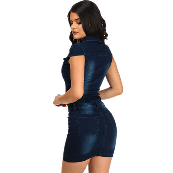 Summer Women's Streetwear Style Sexy Slim Denim Single-breasted Stand Collar Pockets Zipper Dress Bag Hip Dress Nightclub 1