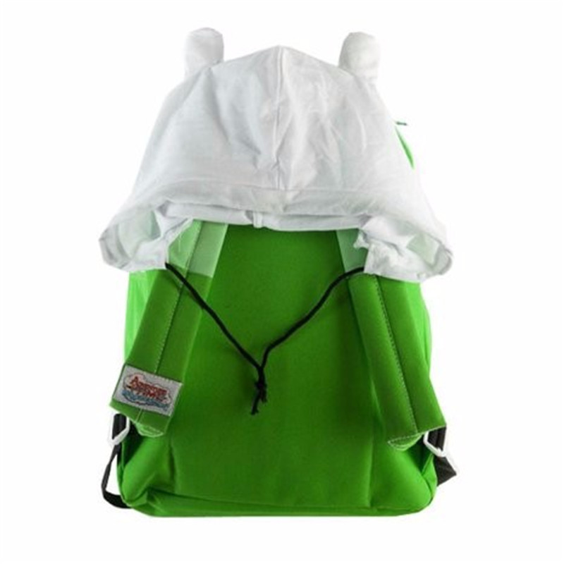 Adventure Time Lime Green Finn Hood Backpack School Bag With Hat  Womens Bags mens Double Shoulder Bag