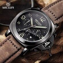 Megir moda casual top brand relojes de cuarzo de los hombres reloj deportivo reloj de pulsera de hombre de negocios de cuero masculino luminosa cronógrafo hora