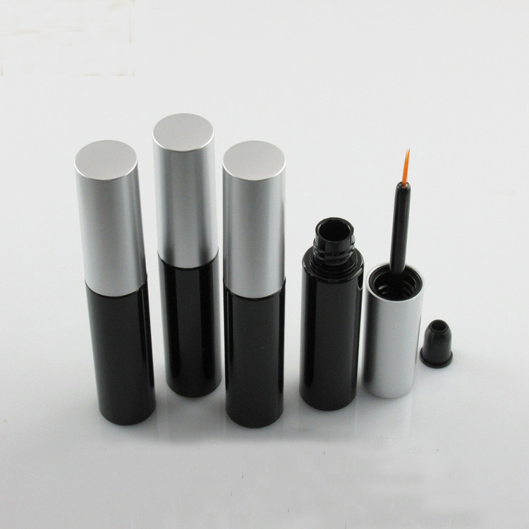 20/50pcs/lot 8ml Empty PETG Cosmetic Black Eyeliner Tube with silver Cap Beauty Makeup Liquid Sub Bottle Refillable Container free shipping 60ml 20 50pcs lot transparent pet medicine refillable bottle capsules liquid packing bottle with white screw cap