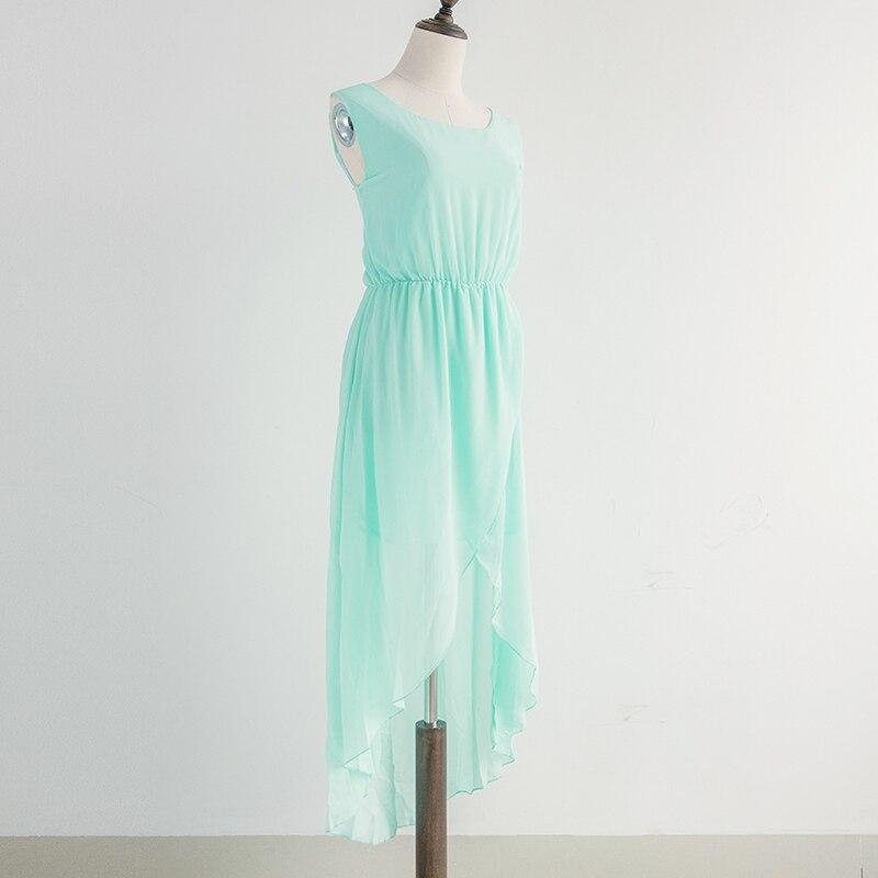 Mint Green Summer Dress Chiffon With Lining Asymmetric Dress Ruffles Elastic Waist Sleeveless Party Dresses vestidos D54120