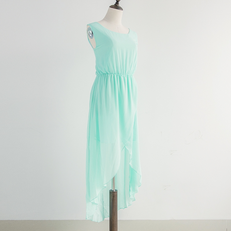 Mint Green Summer Dress Chiffon With Lining Asymmetric Dress Ruffles Elastic Waist Sleeveless Party Dresses vestidos D54120