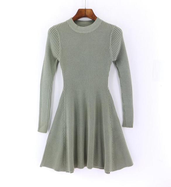 2018 Autumn Winter New Women Sweater Dress Long Sleeve A-Line Mini Dress Thick knitting Short Slim Dresses