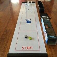 цена Tabletop Bowling ball Board Game Mini Table Games for Travel Bar School Training family Puzzle Children' Game Toys 28*120cm онлайн в 2017 году