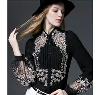 Women Shirts Special Offer Blusas Free Shipping Woman Sleeve 2018 Spring New Style Embroidered Lantern Silk Blouse Shirt Loose