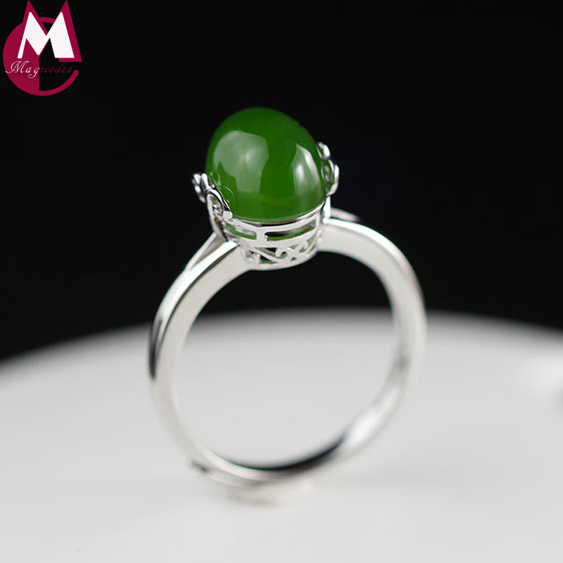 Ring For Women Natural Stone Oval Jasper Classic Hollow Design Adjustable Finger Accessories Real Sterling Silver 925 Jewelry bestlybuy vintage ring 100% real 925 sterling silver classic cross natural stone adjustable joint ring women men jewelry