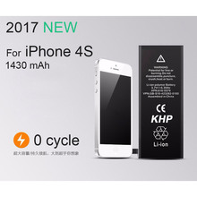2017 New KHP 100% Original Phone Battery For iPhone 4S Real Capacity 1430mAh With Tools Kit Sticker Backup Replacement Battery