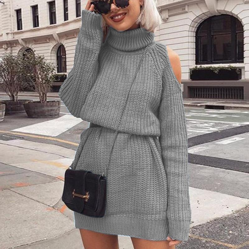 Danjeaner Autumn Winter Turtleneck Off Shoulder Knitted Sweater Dress Women Solid Slim Plus Size Long Pullovers