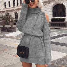 Autumn Winter Turtleneck Off Shoulder Knitted Pullovers