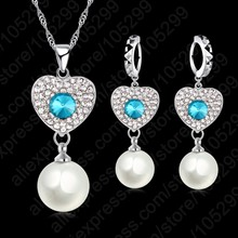 Wedding Fine Jewelry Sets Real Pure 925 Sterling Silver Cubic Zircon Crystal Pendant Necklaces Earring Pearl Engagement Set(China)