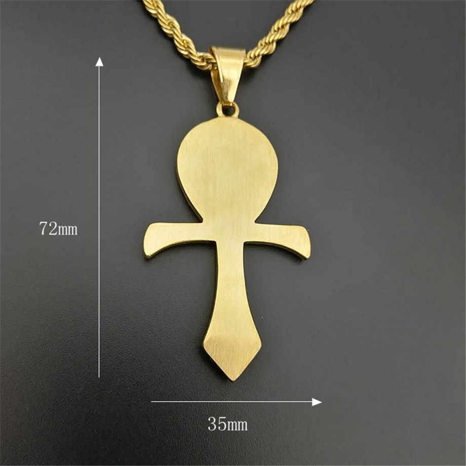 จี้อียิปต์ Ankh Cross สร้อยคอผู้หญิง/ผู้ชายสีสแตนเลส Eye of Horus สร้อยคอ Iced Out Bling อียิปต์เครื่องประดับ