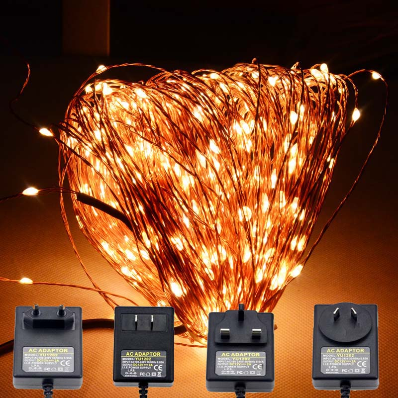 Engros Christmas10M 100 Leds Kobber Wire LED String Light Med Strømadapter DC 6V 1A String Light Xmas Wedding Decoration