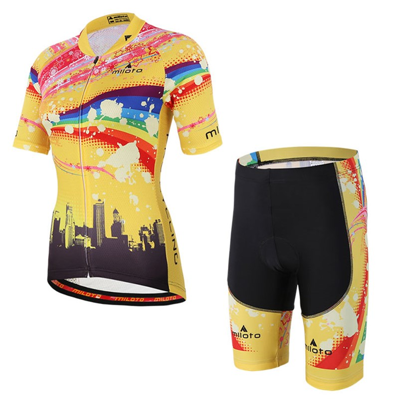 Woman Yellow Cycling Clothing Set 2017 Team Racing Short Sleeve Bike Jersey Breathable Shorts Kit Ciclismo Cycling Wear Summer new wosawe brand new cool cycling jersey set short sleeve sportswear polyester summer bike cycling clothing ropa ciclismo fcfb