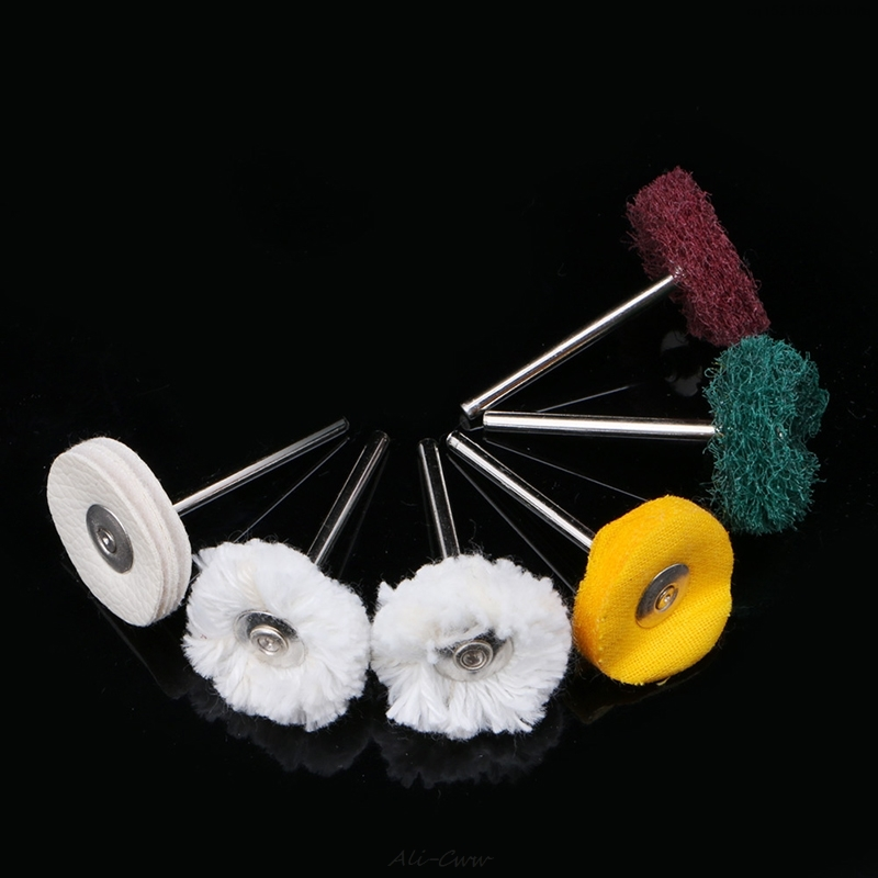 6Pcs 3mm Polisher Buffer Wheel Polishing Buffing Pad Brush  Rotary Drill Bit