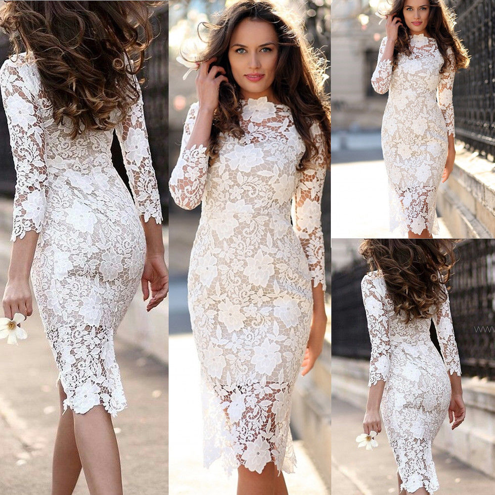 Brand New Fashion Elegant Womens Office Ladies Formal Business Work Party Sheath Tunic Pencil Dress Lace Flower Slim Dresses
