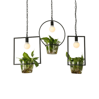 Nordic Potted Plants Led Pendan Lights Personality Simple Pastoral Restaurant Lamps Flowers Glass Plant Hanging Lights Bar Iron