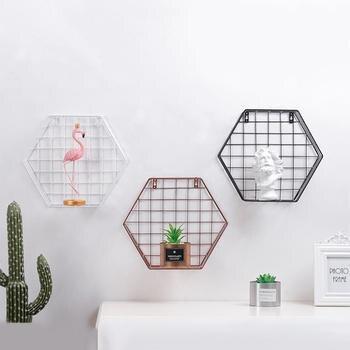 Bastidores de pared hexagonales creativos de hierro para colgar en la pared, estante Decorativo Europeo geométrico para pared, estantería para sala de estar