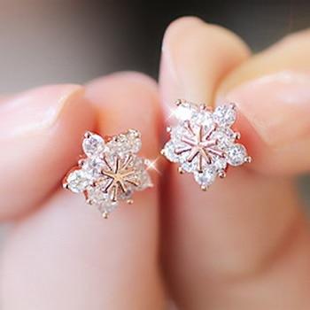 Earrings Promotion Hot Sell Shiny Cz Zircon Silver Plated Fashion Snowflake Ladies`stud Earrings Jewelry Anti-allergic Drop Shipping Stud Earrings
