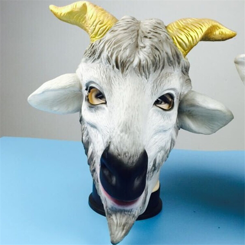 Free ship Halloween Creepy goat mask Lifelike Cosplay Funny Perky Sheep head latex Rubber Face Masquerade Fancy Ball Supplies