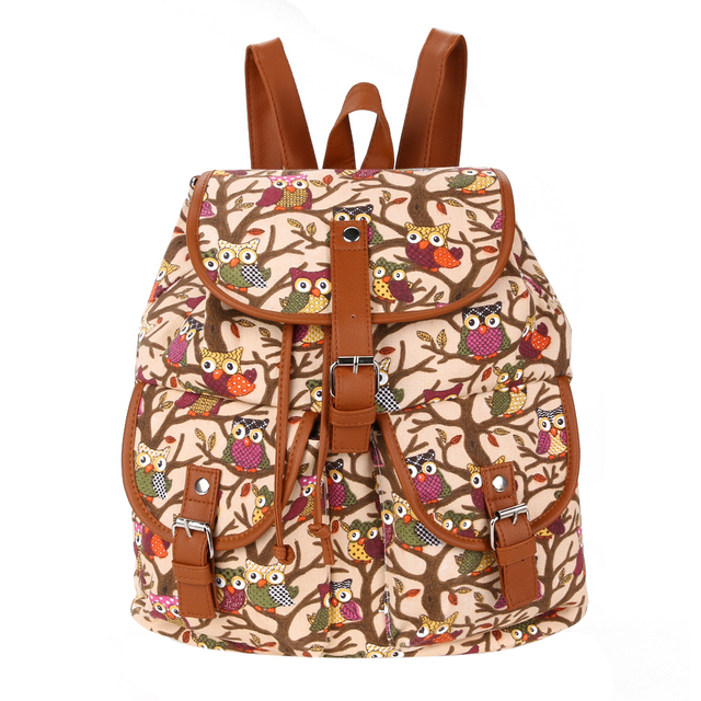 Fasion Canvas+PU Leather Backpack with Animal Print Ladies School Bag  Owl Backpack For Teenager Girls Laptop bolsa mochila