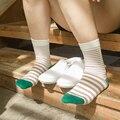 5 par/lote 2016 mujeres calcetines de algodón lindo gato de dibujos animados de Rayas de Moda Calcetín Calcetines Ocasionales Respirables Cómodos para las mujeres niñas