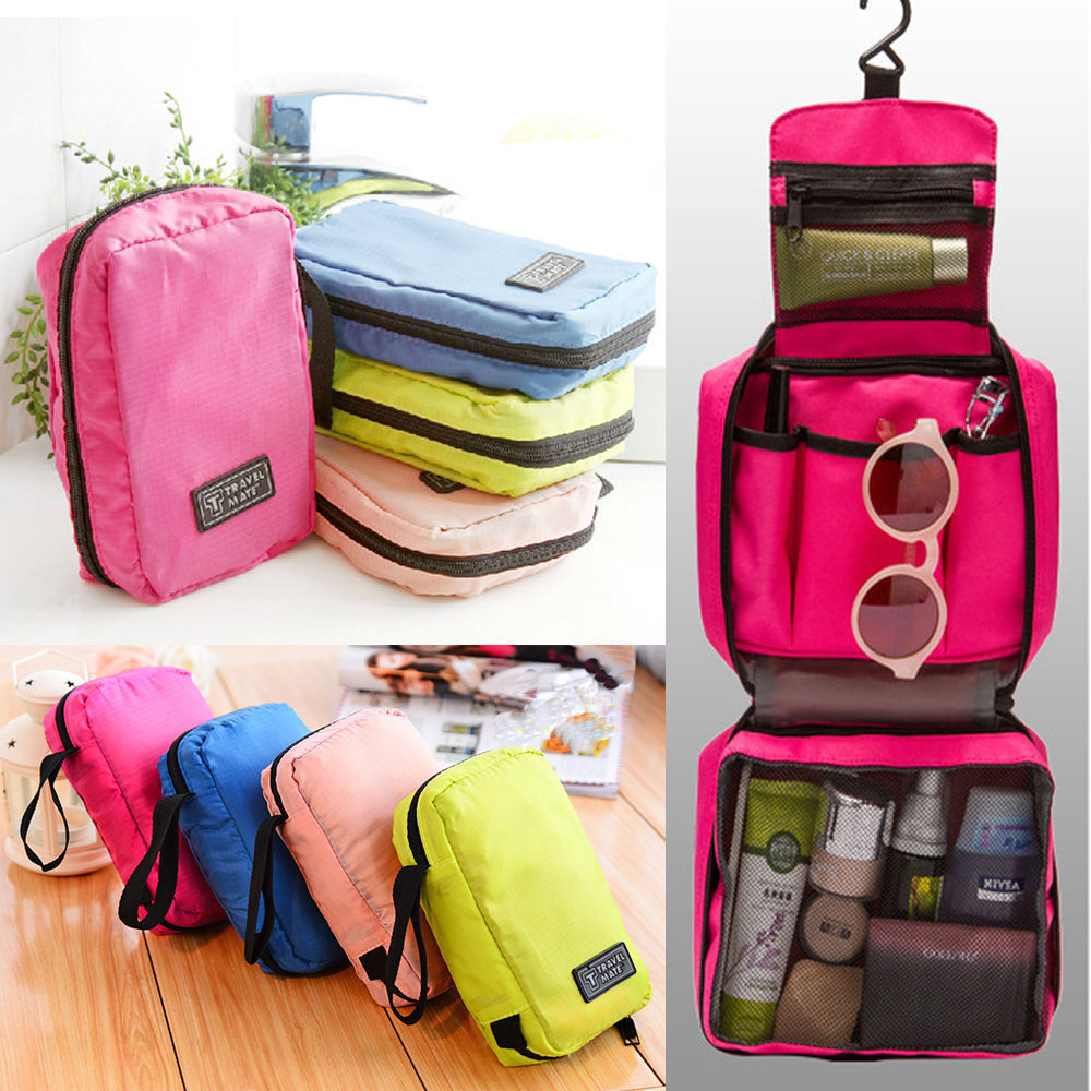 Fashion Folding Hanging Wash Cosmetic Makeup Bag Women Travel Toiletry Storage Bags Portable Organizer