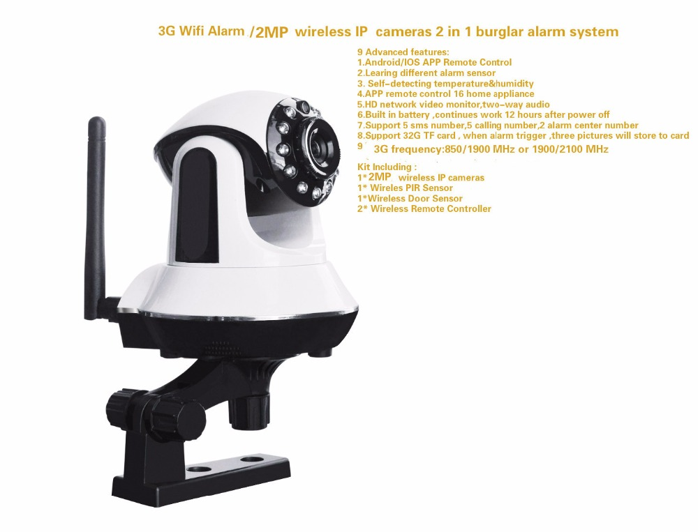 433mhz 2MP Wifi IP cameras / 3G Wifi alarm system 2 in 1 home P2P mobile phone/PC remote view push message alarm 1 3 million high definition network cameras mobile remote alarm monitoring cameras wireless wifi intercom