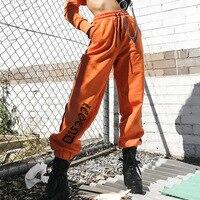 Nova Chegada Laranja Calças Listradas Mulheres Moda Harem Pants Casuais Hiphop Boa Qualidade Fresco Kpop Alta Cintura Solta Mujer