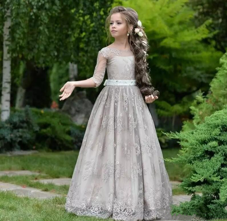 Princess New Princess Flower Girl Dress for Weddings Lace Three Quarter Sleeves Girl Party Pageant Gown Custom Size 2-16Y недорго, оригинальная цена