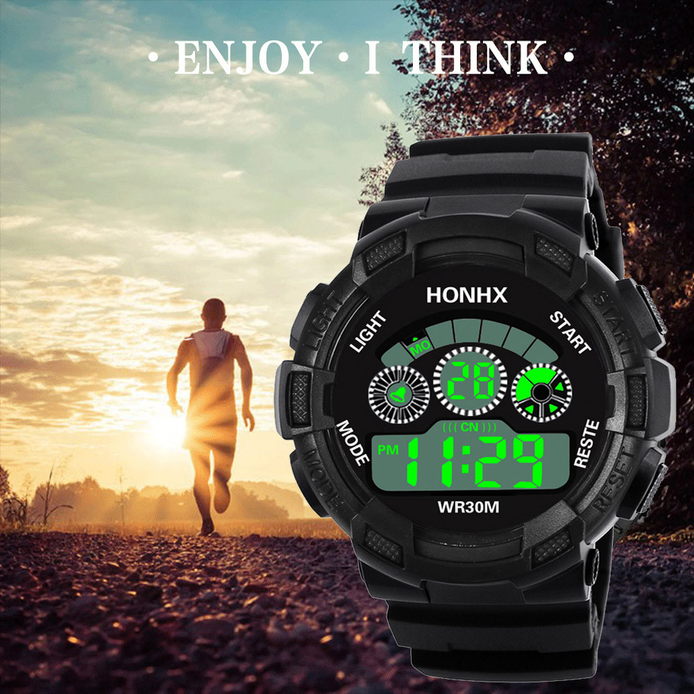 Men's Clock Sport Digital LED Waterproof Wrist Watch Luxury Men Analog Digital Military Army Stylish Mens Electronic watch Clock