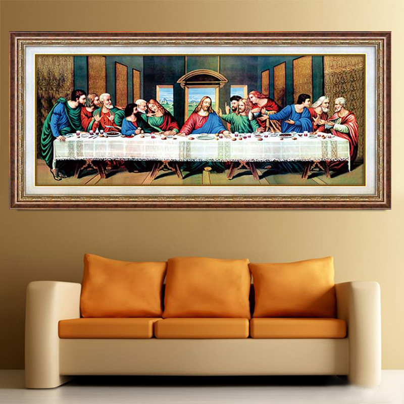 5d diy diamond painting cross stitch the last supper for Mosaic home decor