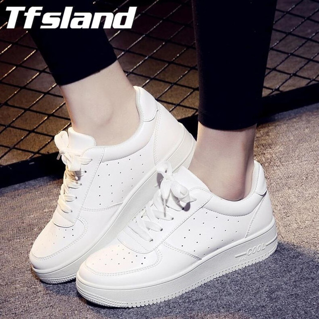 Tfsland Women Breathable Platform White Tennis Shoes