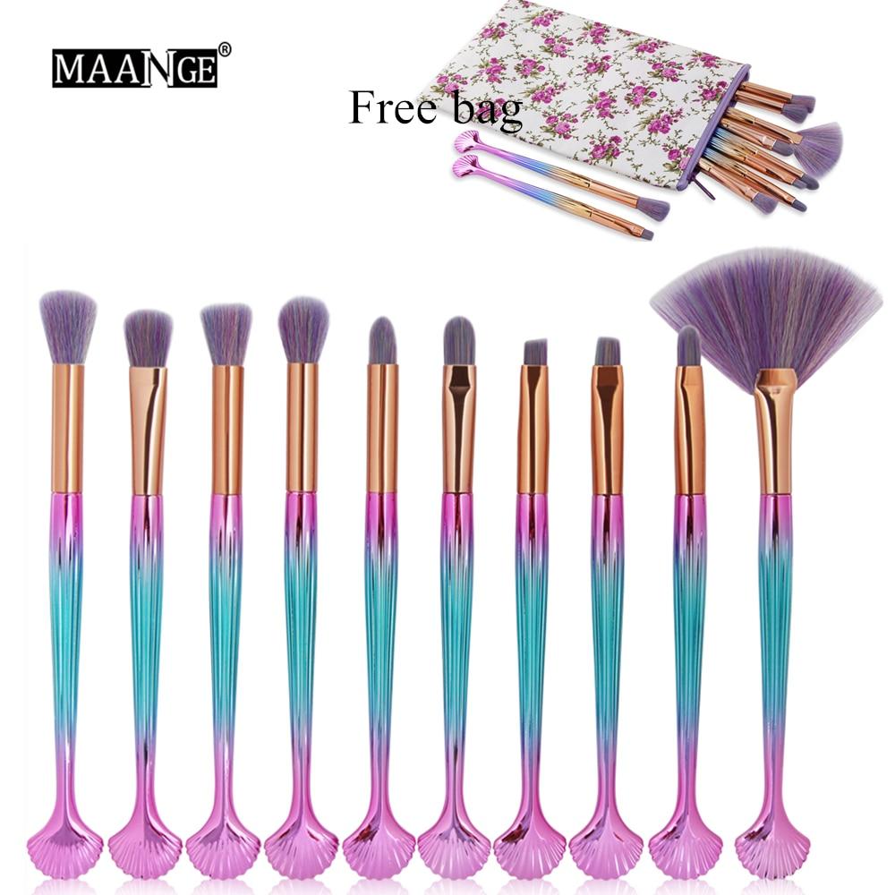 MAANGE New 10pcs Pro Shell Makeup Brushes Set Powder Blusher Eyeshadow Lip Cosmetics Make Up Brushes Random Color Bag Gift Tool parastone pro 10 статуэтка медсестра profisti parastone