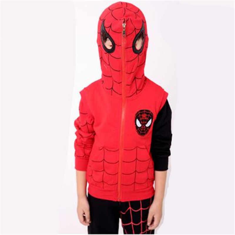 Outono Inverno Hoodies Camisolas Spider-Man Cosplay Traje Terno de Algodão Puro Movimento de Natal Halloween Traje Do Partido Para As Crianças